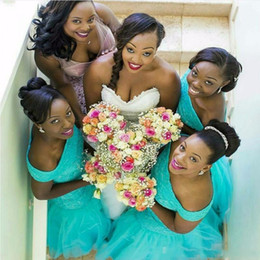 Wholesale coral turquoise wedding dresses - Nigerian Bridesmaid Dresses Plus Size South Africa Style Mermaid Maid Of Honor Gowns For Wedding Off Shoulder Turquoise Tulle Party Dress