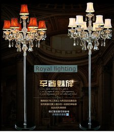 Wholesale Living Room Floor Lamp Modern - 7-arm Large wedding led floor lamps tall led candelabra modern party glass candle holders Living room crystal floor light with lamp shade
