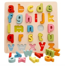 Wholesale Puzzle Stand - Alphabet Numbers Wooden Stand Up Puzzle Learning Educational Toy Have Fun letters and numbers Learning Educational