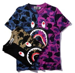 Wholesale T Mouth - 2017 new men's tide brand shark mouth fight short sleeved men's camouflage T-shirt
