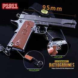 Wholesale Weapon Guns - FPS Game Playerunknowns Battlegrounds 3D Keychain PUBG P1911 zinc alloy Keyring Jewelry Pendant child Gift Toy gun ornaments