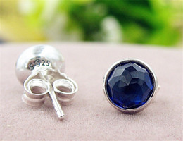 Wholesale September Sapphire - High-quality 100% S925 Sterling Silver Stud Earrings European Pandora Style Jewelry September Droplets Stud Earrings with Synthetic Sapphire
