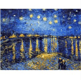 Wholesale Van Gogh Framed Oil - Framed Pure Handpainted Van Gogh starry sky of the rhone river Landscape Art Oil Painting,on High Quality Canvas Home Decor Multiple sizes