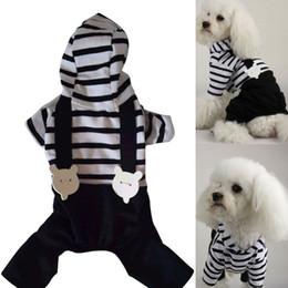 Комбинезон черная свадьба онлайн-Одежда для собак Dog Cats Hoodie Полосатый комбинезон Black Pant Одежда для собак S-XXL