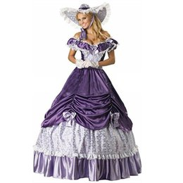 Wholesale Century Free - Free Shipping 19 Century Purple Civil War Southern Belle Gown Evening Dress Party Victorian dresses For Women