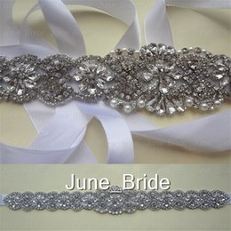 Wholesale trim ribbon wedding - High Quality Real Photo Bridal Sash Crystal Pearl Rhinestone Belt Trim Bride Party White Ivory Ribbon Tie Backs for Wedding Occassion Dress