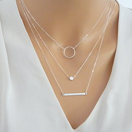 simple necklaces for indian women Coupons - Simple alloy circle bar pendants necklaces women delicate Multilayer Necklaces & Pendants For Women Girl Gifts Jewelry Free Shipping