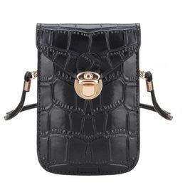 Wholesale Womens Vintage Leather Messenger Bag - Wholesale-Women Mini Shoulder Bags Crocodile Grain Leather Girls Crossbody Bag for Cell Phone Womens Vintage Solid Small Messenger Clutch