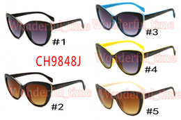 Wholesale Dark Sunglasses Driving - summer new men fashion beach sunglasses driving glasses women Cycling Outdoor Sun Glasses cat eye dark glasses 5 colors free shipping