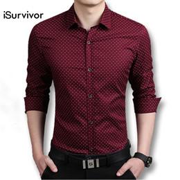 Wholesale Polka Dot Shirts For Men - Wholesale- New Arrivals Men Shirts Long Sleeved Casual Men's Slim Fit Shirts Dress Cotton Fashion Shirt For Men Plus Size M-5XL