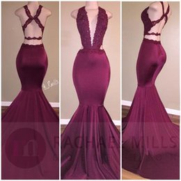 Wholesale Sexy Silk Gowns - 2017 Burgundy Sexy Plunging V Neck Mermaid Prom Dresses Lace Appliques Backless Ruched Long Party Occasion Gowns Long Evening Dresses