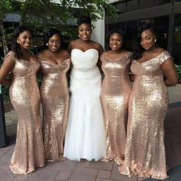 Wholesale Cheap Sparkly Silver Bridesmaid Dresses - Sparkly Rose Gold Cheap 2017 Mermaid Bridesmaid Dresses Off Shoulder Sequins Backless Plus Size Bridesmaid Gowns Short Sleeve Maids of Honor