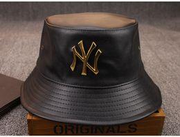 Wholesale Fold Visors - .Fashion Designer Leather NY Bucket Hat For Mens Womens Foldable Fishing Caps Black Fisherman Beach Sun Visor Sale Folding Man Bowler Cap