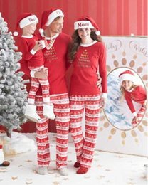 Wholesale Family Christmas Outfits - Xmas Christmas Family Kids Women Men Adult Sleepwear Pajamas Set Striped Cotton Pyjamas 2pc Outfits Free Shipping