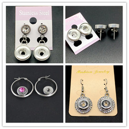Wholesale Diy Jewelry Crystal 12mm - Women Fashion Noosa Ginger Snap Stainless Steel Earrings Interchangeable 12mm Chunk Snap Stud Jewelry Fit Diy Snap Button Charm 10pairs Lot