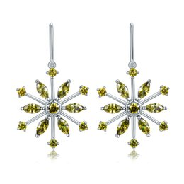 Wholesale Earrings Solid Gold Filled - Fashion Jewelry Solid 925 Sterling Silver dangle Earrings White Gold Plated Peridot Zircon Snowflower Shaped For party Gift On Stock