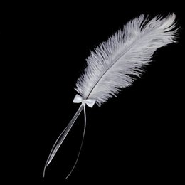 Wholesale Diamante Pen - Wholesale- GSFY- Bowknot Wedding Signing Pen White Ostrich Feather Pen with Diamante
