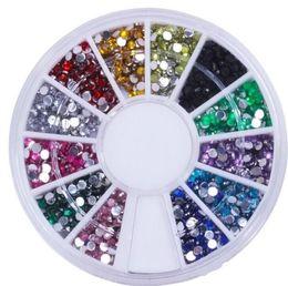 Wholesale Wholesale Stock Wheels - Stock Nail Art Glitter Tip 2mm Rhinestone Deco With Wheel 1200 Pcs set Free Shipping 1000set lot H20082