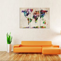 Wholesale Three Panel Wall Map Art - Canvas Wall Art 3 Panels Abstract Color World Map Picture Prints on Canvas Map Painting Artworks for Living Room Home Decoration Framed