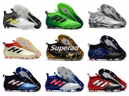 Wholesale Orange Blue Camouflage - New Ace 17 Soccer Cleats Boots Ace 17+ Purecontrol Firm Ground Cleats Champagne Camouflage Black Pink White FG CG Men Football Soccer Shoes