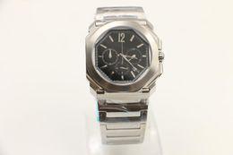 Wholesale unique sapphires - Casual mens watch masculine wristwatches unique octagonal silver watchcase 42mm quartz chronograph wristwatch stainless steel band