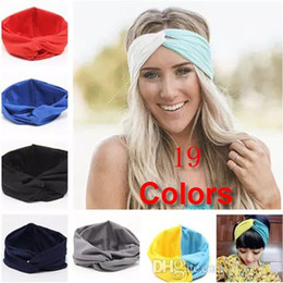 Wholesale Stretch Twist Headband - Hot Sales New 19 Colors Solid Twist Sport Fashion Yoga Stretch Headbands Women Turban Bandana Head wrap Hair Accessories
