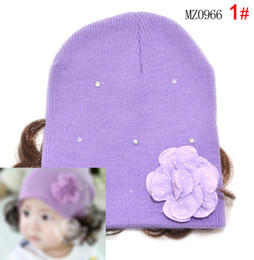 Wholesale Baby Girl Hats Wig - Beanies new arrival lovely The new little diamond flower wig cap sleeve head cap child hat female baby girl hat