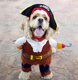 Wholesale Halloween Costume Pirate Plus - Dog Costume Pet Clothes Caribbean Pirate Suit Corsair Dressing up Party Apparel Clothing for Dogs plus Hat