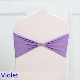 Caixilhos de cadeira violeta on-line-Bandas de gravata cor violeta Lycra sash chair sash Bow tie fita Para Festa de Casamento Banquete Decoração para venda com cinto brilhante