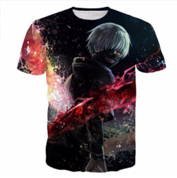 2017 Uomo Donna Harajuku Tee Shirt Anime Tokyo Ghoul magliette Art Kaneki Stampe 3D t shirt Hipster Hip Hop Tees Tops AB010 da camicie art fornitori