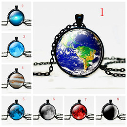 Wholesale Earth Pendant Silver - Black Gemstone Pendants Necklaces With Cosmic Sun Earth Moon Starry Planet Design Glass Cabochon Statement Necklace