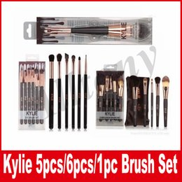 Wholesale Make Boxes - KYLIE Makeup Brush With Box Eyeshadow eyebrow makeup Brushes kylie jenner make up tools 3 type kylie brushes set with box cosmetics