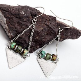 Wholesale Stone Silver Pendant Designs - Fashion New Old Vintage Metal Sub Ancient Silver Earrings Natural Stone Pendant Earrings Triangular Section Europe The Original Design A286