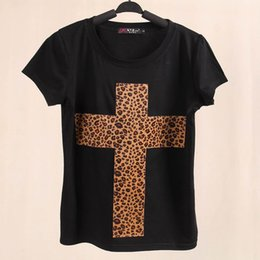 Wholesale Leopard Cross Top - Wholesale- New Women Cotton Leopard Print O-neck T-shirts Cross Casual Female Loose Tops Black and White Brand Tees