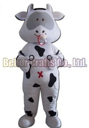 Wholesale Cheap Baby Costumes - Cows baby mascot costume EMS free shipping, cheap high quality carnival party Fancy plush walking milk bull cow mascot adult size.