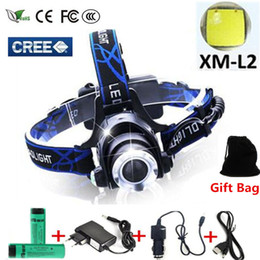 Wholesale Zoom Cree - 5000 lumens led headlamp cree xml t6 xm-l2 Headlights Lantern 4 mode waterproof torch head 18650 Rechargeable Battery Newest