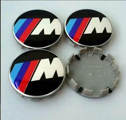Wholesale Emblem Cars - 100pcs 68mm M Power wheel center hub caps 10 clips car emblem badge for 1 3 5 x1 x5