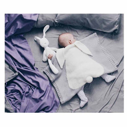 Wholesale Muslin Wraps - Baby Quilt Bunny Ears Organic Muslin Crochet Swaddle Wrap Kid Blanket For Beach Home Sleeping bag 29*42INCH