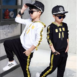 Wholesale White Coat Suit For Boys - hooded sport suit for boys clothing sets with ribbon autumn long sleeve children boys clothes suits black white coats long pants