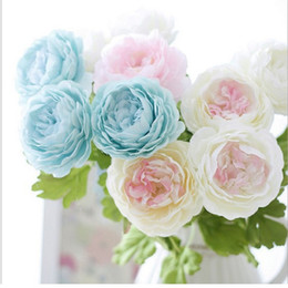 Wholesale Silk Peony Stem - Artificial Peony Flowers Single Long Stem Bouquet Beautiful Simulation Flower Party Wedding Decoration Free Shipping wa3138