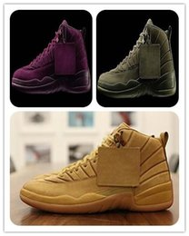 Wholesale Green Games - Cheap Retro 12 XII Wheat Bordeaux The Master Black Wool Flu Game Basketball Shoes 12s Sports Shoes Mens Athletics Discount Womens Footwears