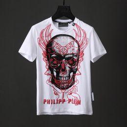 Wholesale Graffiti Skull - Crystal Beads T-shirts Men Graffiti 3D Skull T-shirt Cotton Short Sleeve Shirts Tops Vest Black White Male Slim Sport Poloshirt Shirts 18743