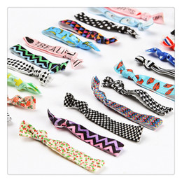 Wholesale Green Ponytail - High Quality Knotted Hair Ties Bands Fold Over Elastic Hair Band FOE Band Gilrs Ponytail Holder No Fraying Assorted Colorful Styles