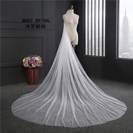 Wholesale Soft White Wedding Veils - Simple Bridal Veils Real Images 3M Width 3 meters Length Cathedral Rounded Tail Cut Edge Soft Tulle Elegant Glamorous Wedding Veil with Comb