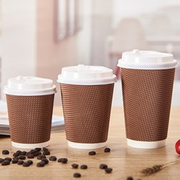 Wholesale Disposable Paper Tea Cups - Free shipping Hot drinks Anti-hot 500 Disposable Tea cups corrugated Coffee cups Paper cups With cover500ml cup