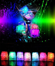 Wholesale Water Decoration Lights - LED Light Ice Cubes Flash Liquid Sensor Water Submersible LED Bar Light Up for Club Wedding Party Champagne Tower Christmas Decoration