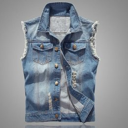 Wholesale New Mens Jean Vest - Wholesale- High Quality Denim Causal Cowboy New Fashion Mens Slim Fit Sleeveless jean Jackets Hole Denim Vests Waistcoat chaleco Size M-4xl