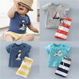 Wholesale Organic Baby Boy - toddler shirts Kids Clothes Baby Boys Anchor Sets Top T Shirt Stripe Pants Children Short Sleeve Boutique Outfits Kids Summer Pajamas Suits