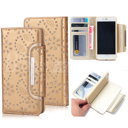 Wholesale Maple Patterns - Luxury Wallet Case For iPhone 6 6S 7 Plus Bling Maple Leaves Pattern Hybrid PU Leather Cases Card Slot Photo Frame S7 Edge