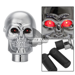 Wholesale Led Gear Knobs - Chrome Manual Automatic Transmission Vehicle Car Red Eyes Skull LED Gear Shift Knob Shifter Lever Universal Fit Stick Lever Knob